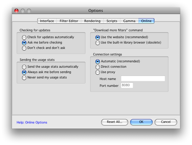 "Screen Shot of Filter Forge Online Settings-Granular Controls with ""Never"" options and a proxy configuration option."
