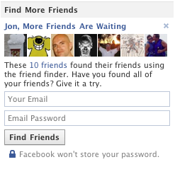 Screenshot of Facebook's Friend Finder Feature